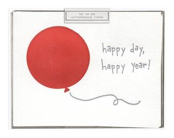 Happy Day, Happy Year letterpress card - set of six