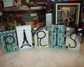 Paris letter blocks turquoise,Paris theme,Paris decor,Paris bedroom decor,Paris party decor,Paris nursery decor,Paris wedding decor