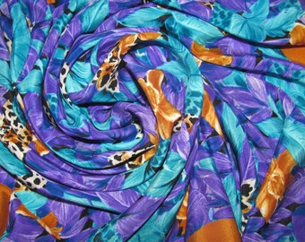 Vintage Large Square Silk Guy Laroche Scarf - Bright Purple Floral Pattern with Orange Border, Cheetah Print Flowers - Lush Jungle Look