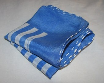 Vintage  Square Silk Scarf/Pocket Square - Blue & White Stripes - Free Stripes By Suzy Simpson - Unusual Striped Rolled Hem