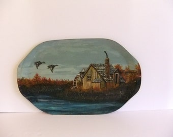 hand painted tray Serving Tray Duck Wall Hanging Water Wheel Wood Tray Oval