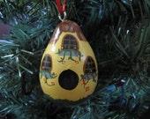 Yellow Birdhouse Gourd Ornament