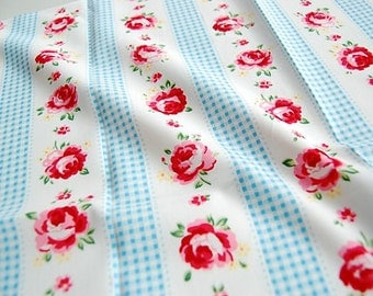 Quilt Half Yard Cotton Fabric Patchwork English Floral Roses Gingham Stripe in Baby Blue