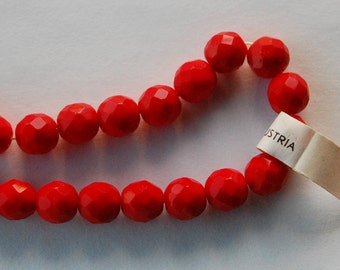 Vintage Austria Beads 12 Cherry Red Faceted Glass Ball Beads Opaque 8mm