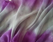Hand Painted Crepe Georgette Silk Scarf in Soft Greys and Purples