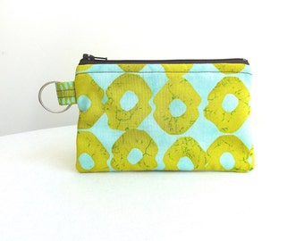 Chartreuse Green and Bright Blue Zippered Bag / Coin Purse / ID Case / Gadget Pouch with Split Ring - Ready to Ship