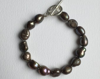 CLEARANCE SALE - Large uneven black fresh water pearl bracelet