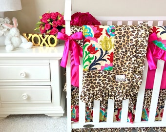 Bumperless Crib Bedding, Fancy Damask Crib Bedding, Leopard Baby Bedding, Hot Pink Crib Set, Baby Bedding for Girls, Leopard Crib Bedding