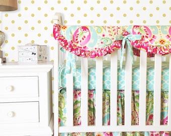 Kumari Garden Bumperless Bedding, Mint Crib Bedding, Jeevan Pink Bumperless 3pc Crib Bedding, Pink Crib Bedding, Girl Crib Sets