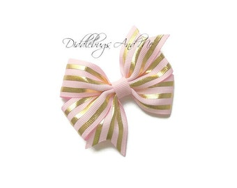 Pink And Gold Stripe Hair Bow, Gold Stripe Bow, Girls Pink Hair Bow, Spring Hair Bow, Gold and Hot Pink Hair Bow, Pink Hair Bows For Girls