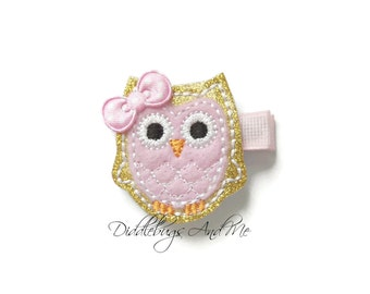 Gold and Pink Owl Hair Clip, Pink and Gold Glitter Owl Hair Clip, Girls Owl Hair Clip, Aqua Owl Hair Clip, Pink Owl Hair Clip, Gold Owl Clip