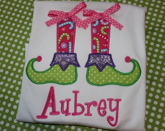 Christmas elf shoes with bows tshirt or dress-  can change fabric