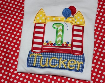1st birthday Bounce house birthday tshirt- boy or girl- any number you choose