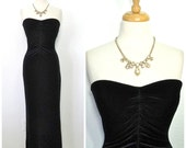 Vintage 80s Black Velvet Dress Sweetheart Strapless Great Gatsby Maxi Evening Cocktail Dress S