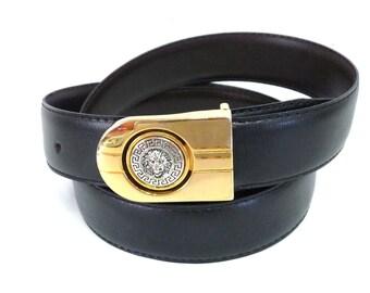 Versace Lion head Gold Buckle Black Leather Belt