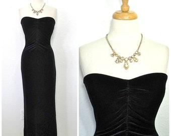 Vintage 80s Black Velvet Dress Sweetheart Strapless Great Gatsby Maxi Evening Cocktail Dress S