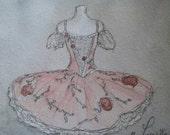 Pink Tutu Art Print.  Ballet Art. 5x5 inches.