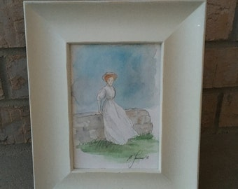 Anne of the Island. Original Watercolor. Framed.
