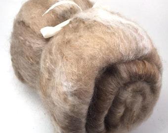 Spinning Fiber - Alpaca, silk, and mohair smooth batt - Dahlia Honey - 4 oz