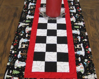 Patchwork Winter Snowmen Quilted Table Runner