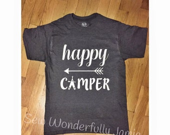 Happy Camper Shirt - Happy Camper tshirt - Happy Camper print - Camping Shirt - Camper - Happy Camper - Mountains are Calling