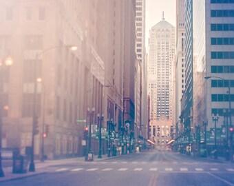 Chicago Board of Trade | Goddess Ceres | Chicago photography | art print | urban home decor | indigo, creme, beige | art for walls | skyline