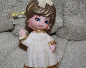 vintage flocked Angel Christmas tree ornament