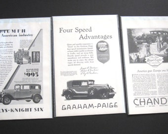 Set of 3 Antique Car Ads - Willys-Knight Six - Graham-Paige - Chandler