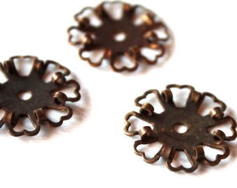 3 Vintage 1950s Copper Flower Findings // 50s 40s Art Deco Valentine Stampings // NOS