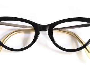 1950s Womens Cateye // 50s Vintage Cats Eyes  Eyeglasses // 12k GF //  Black Metal arm