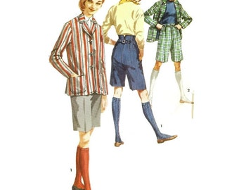 1950s Bermuda Shorts and Blazer Jacket Pattern Simplicity 1695 B38 Sz 18