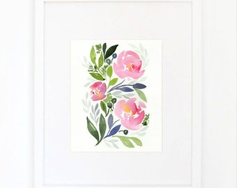 Watercolor White Rose and Pink Peony No.1