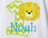 Personalized Lion Birthday Shirt or Bodysuit, You Pick Fabrics and Font, Any Age