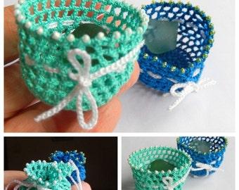 Mermaid Tears - FAVOR BAG - 2 Crochet favor bag with Italian Genuine Sea Glass - recycled reuse