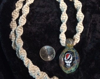 Grateful Dead Milli 3-D Glass Pendant hemp necklace