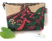 MTO. Custom. Kilauea Volcano Clutch with Hibiscus Print. Repurposed Kona Coffee Bag. Handmade in Hawaii.