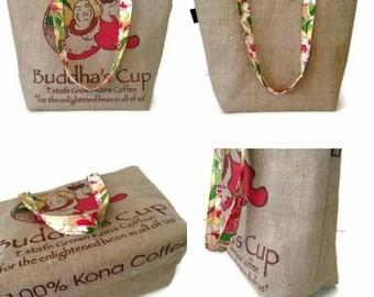 MTO. Large Burlap Buddha's Cup Tote. Repurposed Kona Coffee Bag. Handmade in Hawaii.