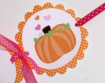 Pumpkin Happy Birthday Banner with hearts and polka dots