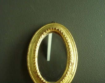 30% off SALE Pretty Gold Mirror - Small Ornate Oval Framed Vintage Mirror - Tiny Round Gilded Mirror - Made in Italy