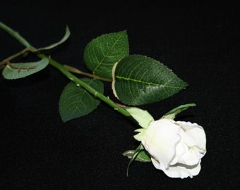 12 White Gina Rose Buds - Barely Blooming - Artificial Flowers, Silk Roses - PRE-ORDER