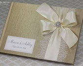 Champagne Gold Wedding Guest Book Ivory Cream Ribbon Lace Custom Made in your Colors
