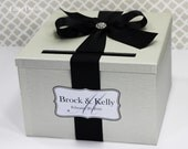 Wedding Card Box Ivory black  Money Holder Custom Made Your Colors