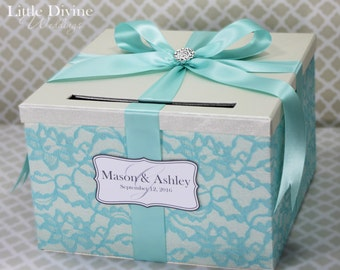 Wedding Card Box Ivory and Aqua Blue Lace Wedding Card Holder Customizable