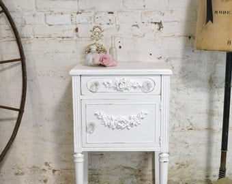 Painted Cottage Chic Shabby Romantic French Night Table NT825