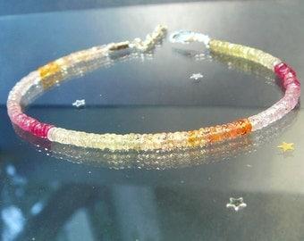 Ombre Shaded Sapphire Bracelet, Multi Shaded Bracelet, Candy Rainbow Gemstone, Orange, Yellow, Pink Sapphire Bracelet, AAAA Gem Grade Stones