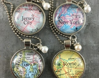 Personalized Map Pendant Necklace from Vintage Atlas 4 Necklaces