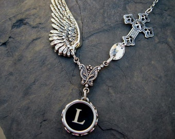Wing and a Prayer - Typewriter Key Necklace - Initial Necklace - Typewriter Key Jewelry - Letter L