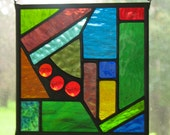NEW Abstract Geometric Stained Glass Suncatcher