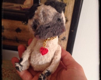 St. Valentine Day SALE 4,5 inch Artist Handmade OOAK Miniature Pocket Pug Richie by Sasha Pokrass