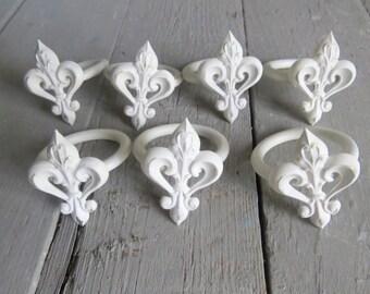 Fleur De Lis Napkin Ring Set, Dining Accessory, Kitchen Table Decor, White Paris Decor, Shabby Cottage Chic, Paris Apartment Dining